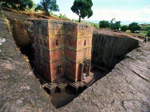 Una de las iglesias excavadas de Lalibella