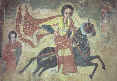 Imagen de la Reina de Saba a caballo (Museo Nacional en Addis Abbeba).